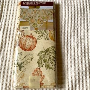 Sketched harvest table cloth